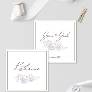 PURPLE ROSE PLACE CARDS