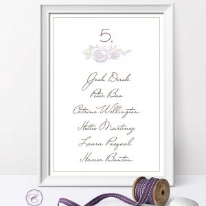 PURPLE ROSE TABLE NUMBER